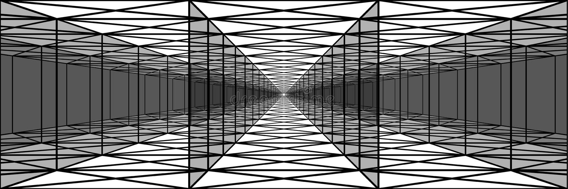 Túnel triple con las paredes transparentes, pasillos largos, psychedeli ilustración del vector