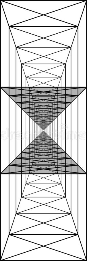 túnel triplo com paredes transparentes, corredores longos, ilusão ótica, perspectiva ilustração royalty free