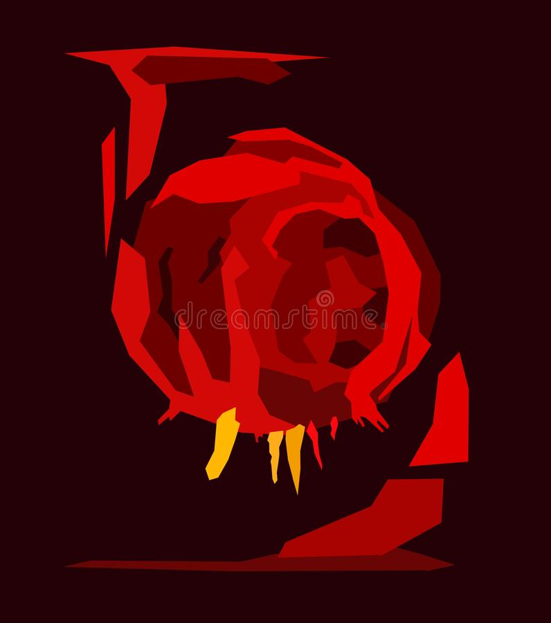 Túnel vermelho da caverna dos desenhos animados do sumário, vista dentro do vulcão quente Escuro - gruta vulcânica alaranjada, mi ilustração royalty free