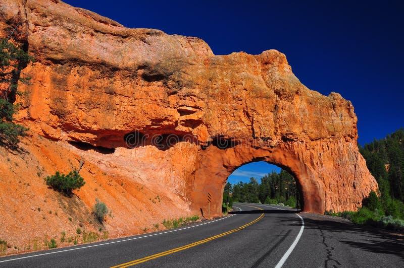 Túnel vermelho da estrada do arco na garganta do bryce imagens de stock