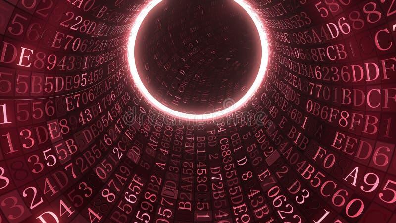 Túnel vermelho feito de símbolos hexadecimais Rendição 3D relacionada da TI ilustração do vetor