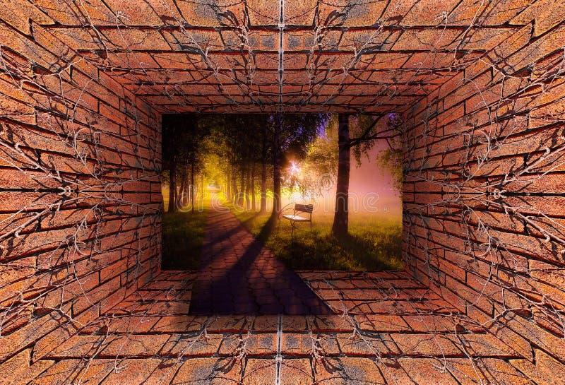 Túnel viejo con la pared de ladrillo y la hiedra seca que entran en el callejón oscuro del árbol de la niebla con las lámparas y  fotografía de archivo