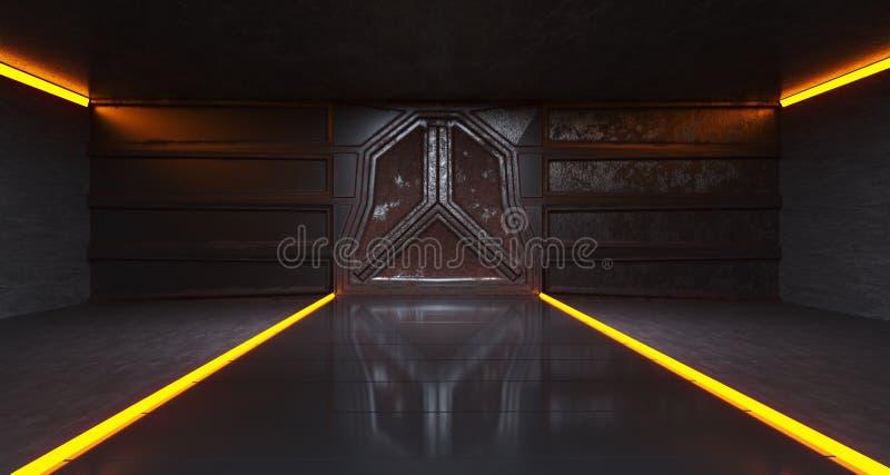 Túnel viejo de la oscuridad de Rusty Metal Spaceship Gate In de la ciencia ficción futurista ilustración del vector