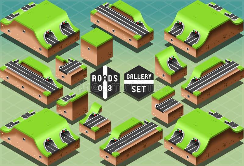 Túneles y secciones isométricos de las galerías libre illustration