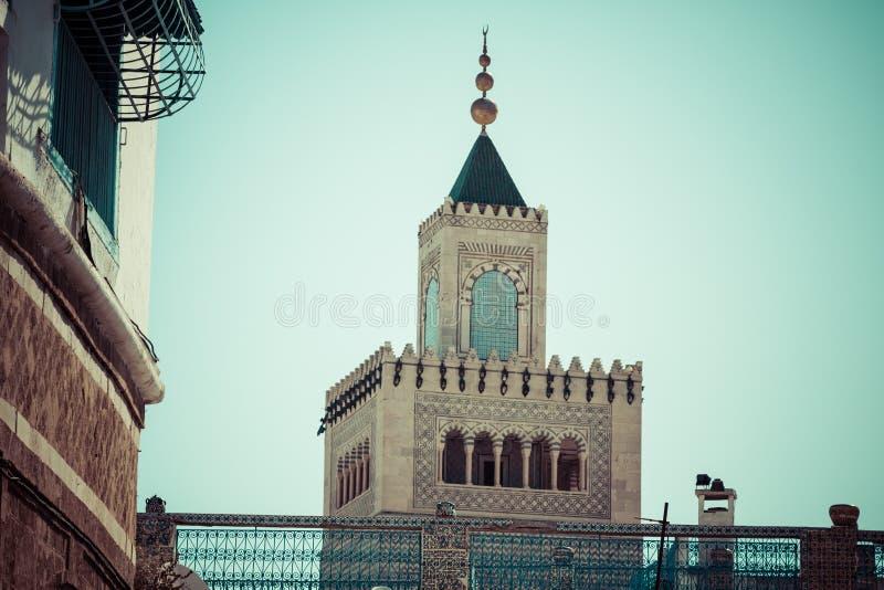 túnez Alminar de la gran mezquita (Zitouna, imagen de archivo
