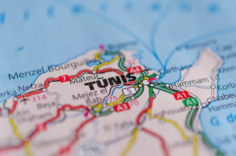 Túnez en mapa fotos de archivo