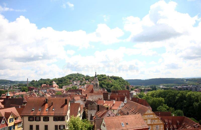 Tübingen or Tuebingen in Germany. View of the historic town of Tuebingen, Germany located in Baden-Wuerttemburg. This photograph was taken atop the castle stock photos