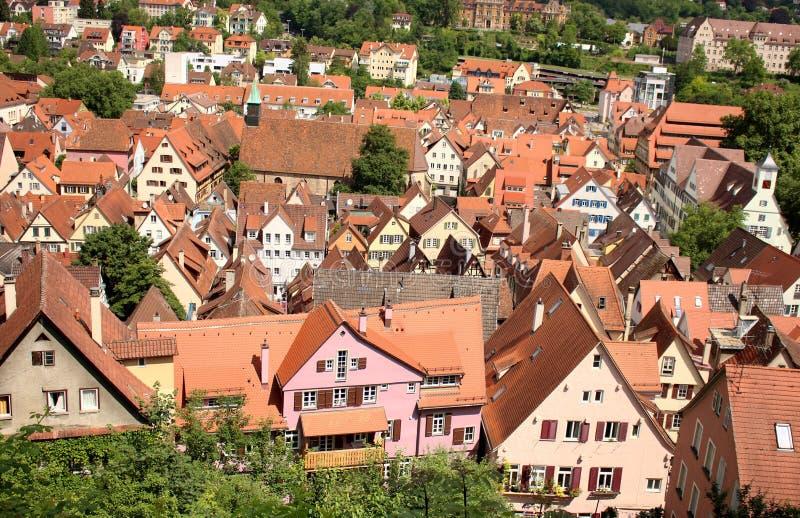 Tübingen or Tuebingen, Germany. View of the historic town of Tuebingen, Germany located in Baden-Wuerttemburg. This photograph was taken atop the castle stock photos