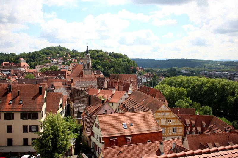 Tübingen Tuebingen Germany. View of the historic town of Tuebingen, Germany located in Baden-Wuerttemburg. This photograph was taken atop the castle schloss royalty free stock photography