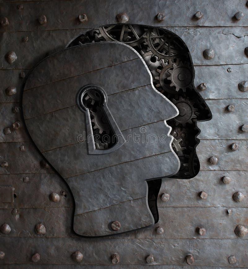 Tür des menschlichen Gehirns mit dem Schlüssellochkonzept, das vom Metall gemacht wird, übersetzt lizenzfreie stockbilder