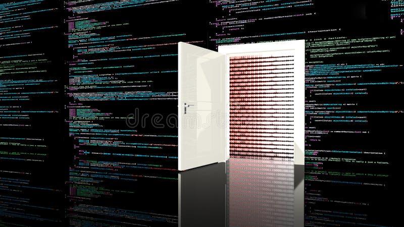 Tür in einer Wand in einem schwarzen Raum gemalt mit Computercode stock abbildung