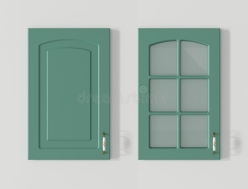 Tür für Wiedergabe des Küchenschranklandgrüns 3D stock abbildung