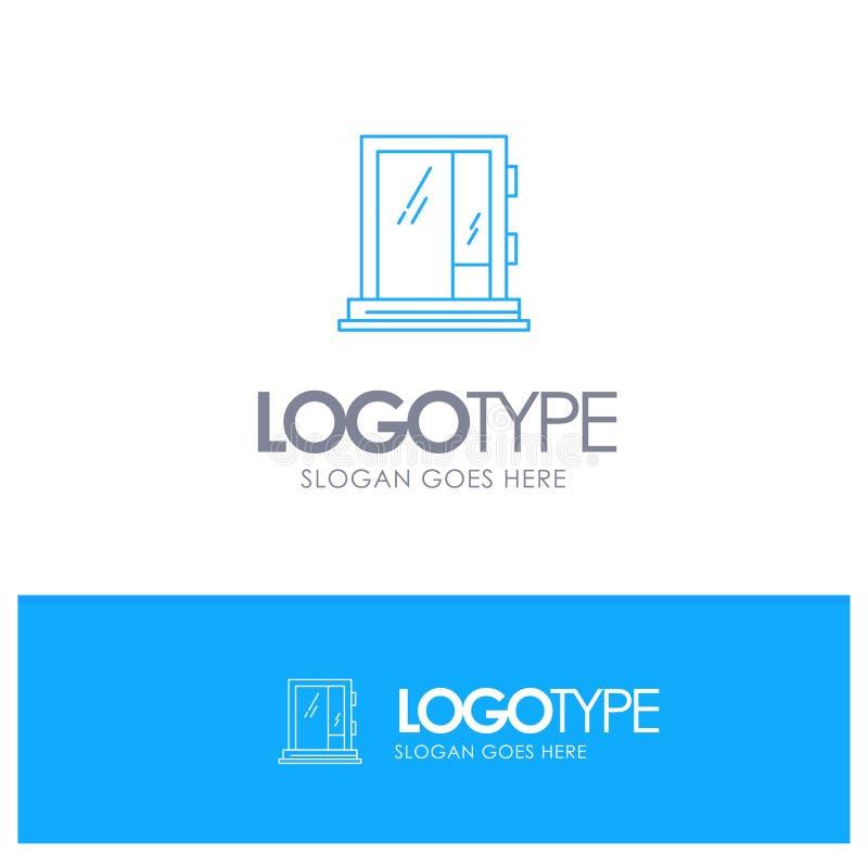 Tür, Fenster, Gebäude, Bau, blaues Logo Entwurf der Reparatur mit Platz für Tagline stock abbildung
