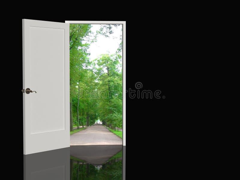 Tür geöffnet in der realen Welt stockfoto