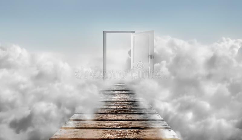 Tür im blauen Himmel und in den Wolken Tür zum Himmel vektor abbildung