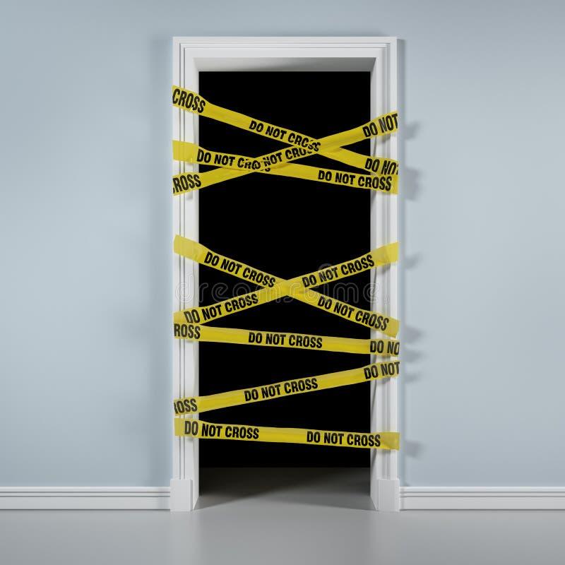 Tür mit Achtungsband lizenzfreie abbildung