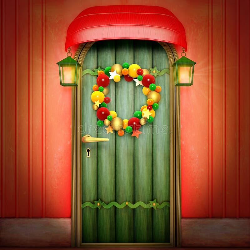 Tür mit Weihnachtswreath lizenzfreie abbildung