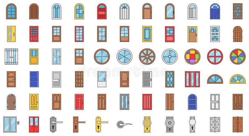Tür- und Fensterinstallationsikonensatz, füllte Entwurf lizenzfreie abbildung