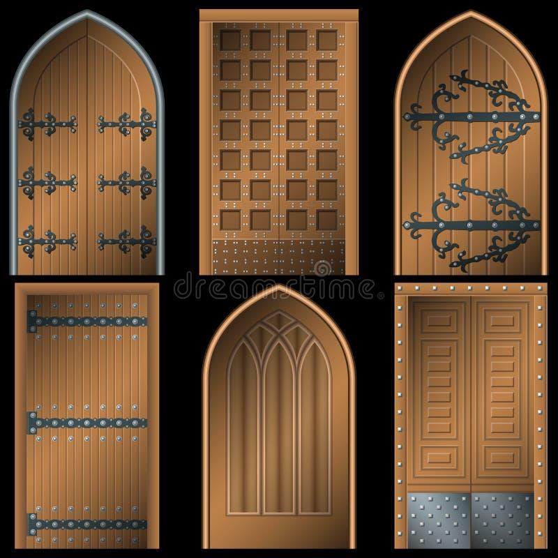 Tür zu den Mittelalter auf einem schwarzen Hintergrund vektor abbildung