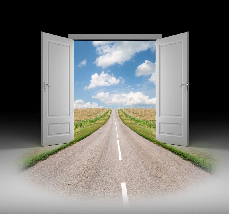 Tür zu einer neuen Wirklichkeit stock abbildung