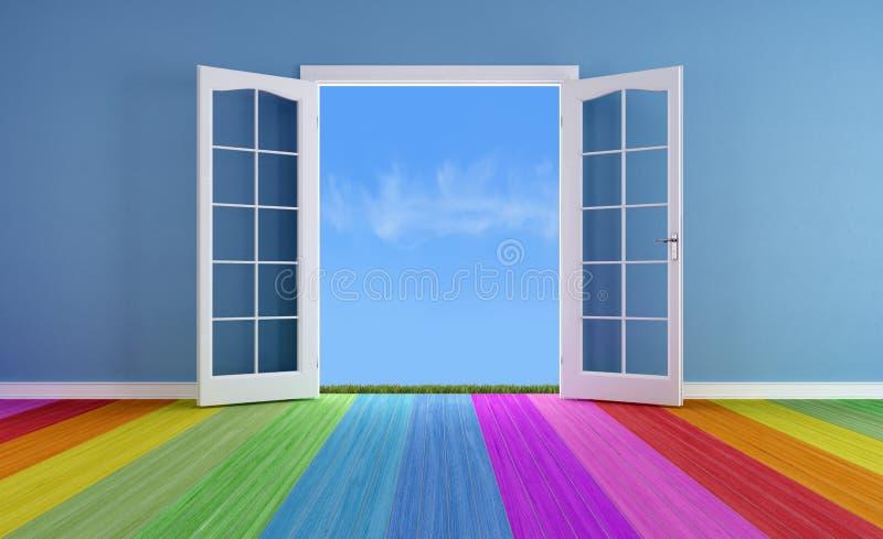 Türen öffnen sich zu den Frühlingen vektor abbildung
