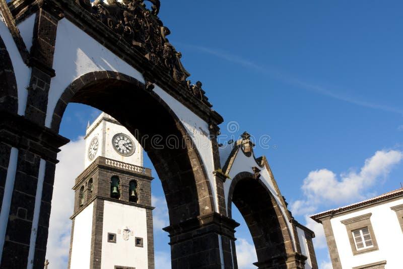 Türen der Stadt in Ponta Delgada stockbild