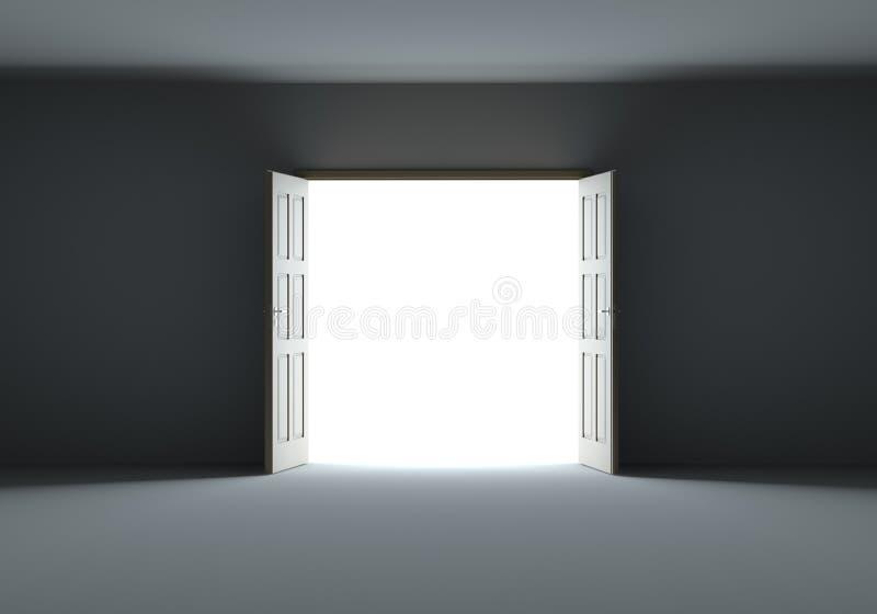 Türen, die sich öffnen, um helles Licht in der Dunkelheit zu zeigen vektor abbildung