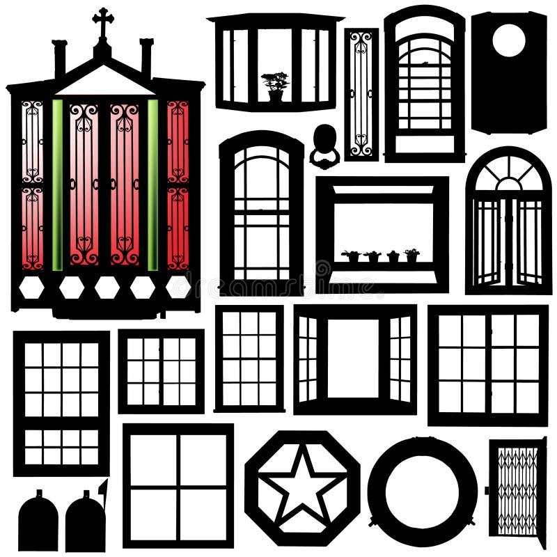 Türen, Fensterschattenbildset vektor abbildung