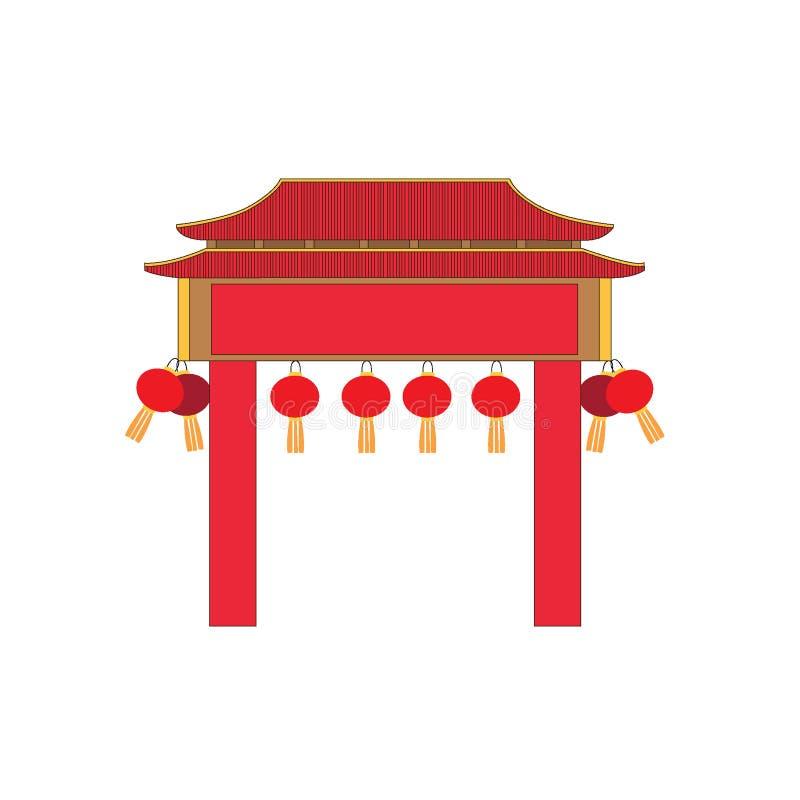 Türfassade China-Entwurf auf weißem Hintergrundillustrationsvektor stock abbildung