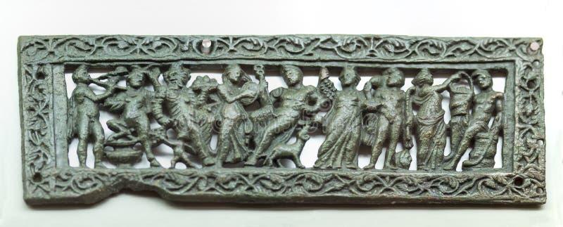 Türguckloch mit mythologischer Szene mit Dionysus und seinem HNO lizenzfreie stockfotografie