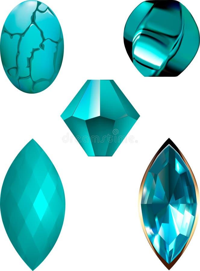 Türkis-Edelstein- und Perlenvektorillustrationen stock abbildung