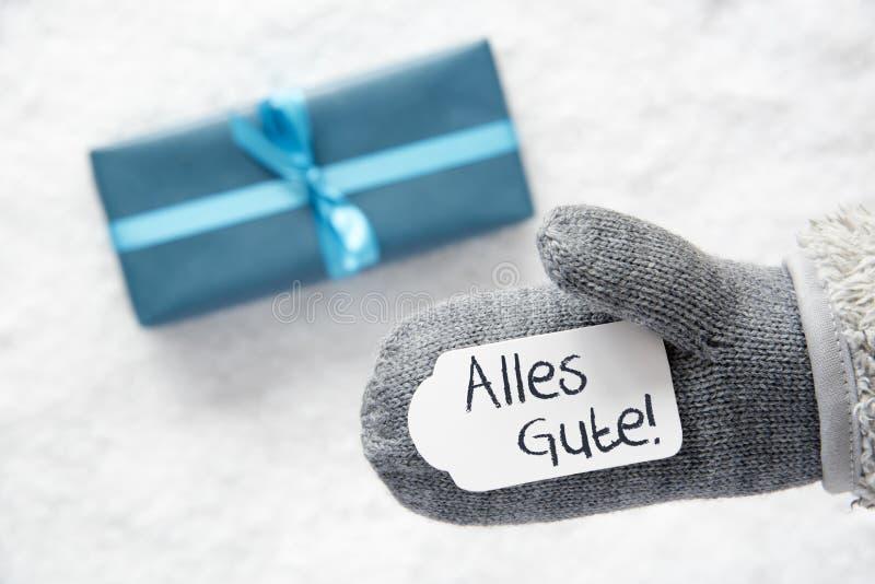 Türkis-Geschenk, Handschuh, Alles Gute bedeutet beste Wünsche lizenzfreie stockbilder
