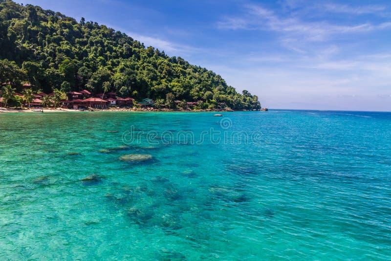 Türkis-Meer mit mit Palmen und blauem Himmel stockbild