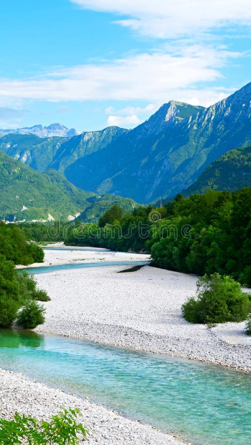Türkis Soca-Fluss lizenzfreies stockbild