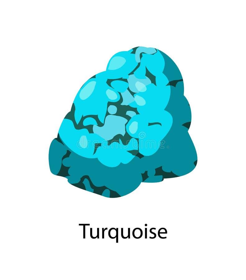 Türkis undurchsichtiger Blau-zu-grüner Mineral-Gem Rock stock abbildung