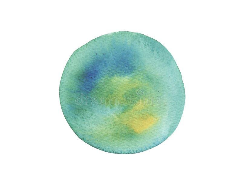 Türkisbürstenanschlag-Kreisform des Aquarells nass lokalisiert auf weißem Hintergrund Planet, Erde vektor abbildung