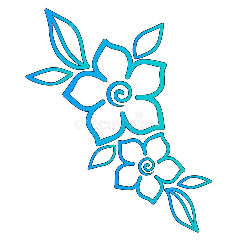 Türkisblumen mit Blättern Blumenmuster, Schablone für Tätowierung stock abbildung