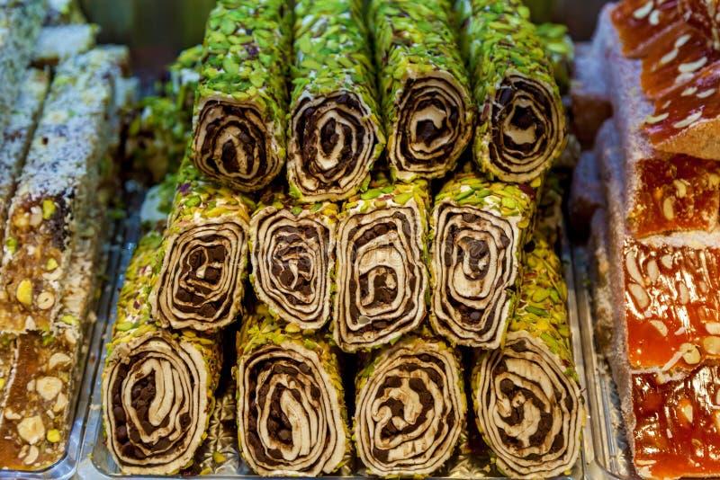 Türkische Bonbons mehrfarbige türkische Freude lizenzfreie stockbilder