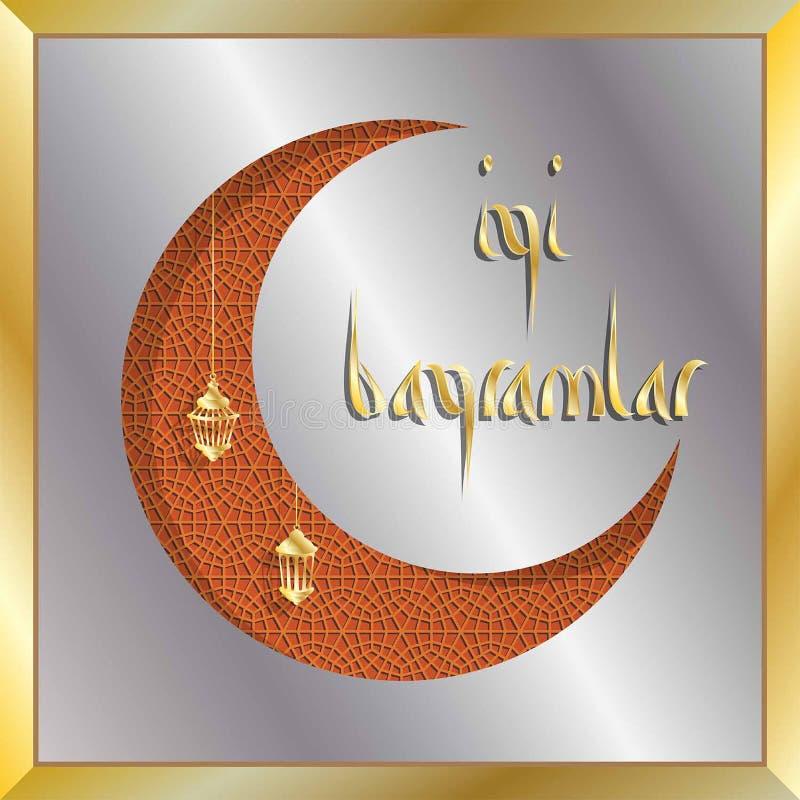 Türkische eid Grußkarte mit sichelförmigem Mond für moslemischen Feiertag lizenzfreie abbildung