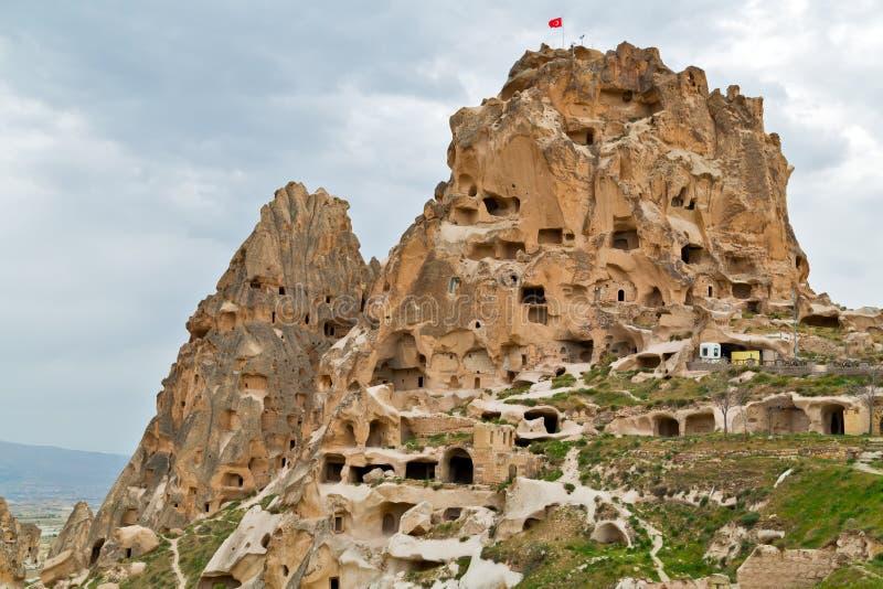 Türkische Festung Uchisar in Cappadocia, die Türkei lizenzfreies stockbild