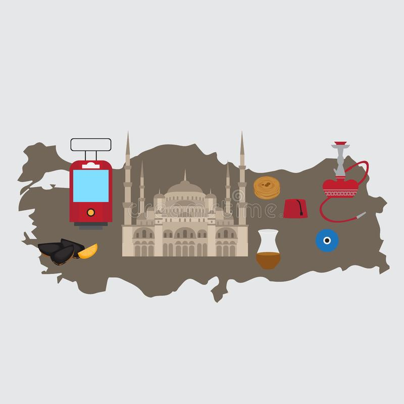 Türkische flache Bühnenbildelemente, Markstein von Istanbul, die Türkei Symbole, Architektur und Lebensmittel vektor abbildung