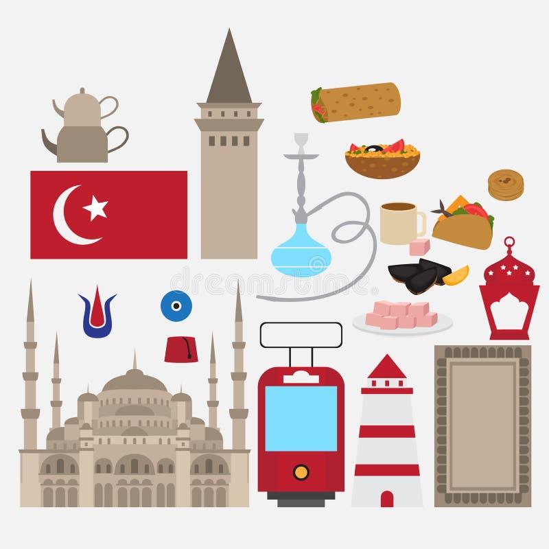 Türkische flache Bühnenbildelemente, Markstein von Istanbul, die Türkei Symbole, Architektur und Lebensmittel stock abbildung