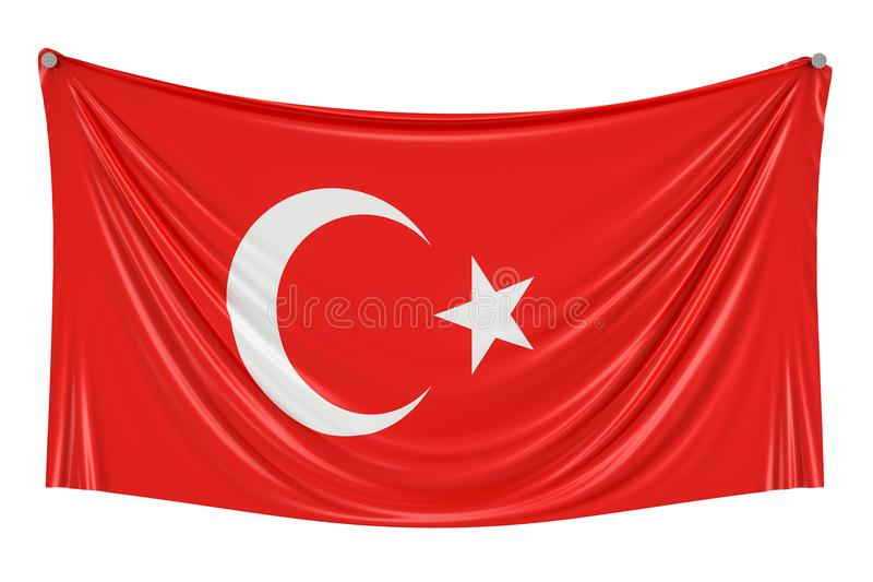 Türkische Flagge, die an der Wand, Wiedergabe 3D hängt stock abbildung