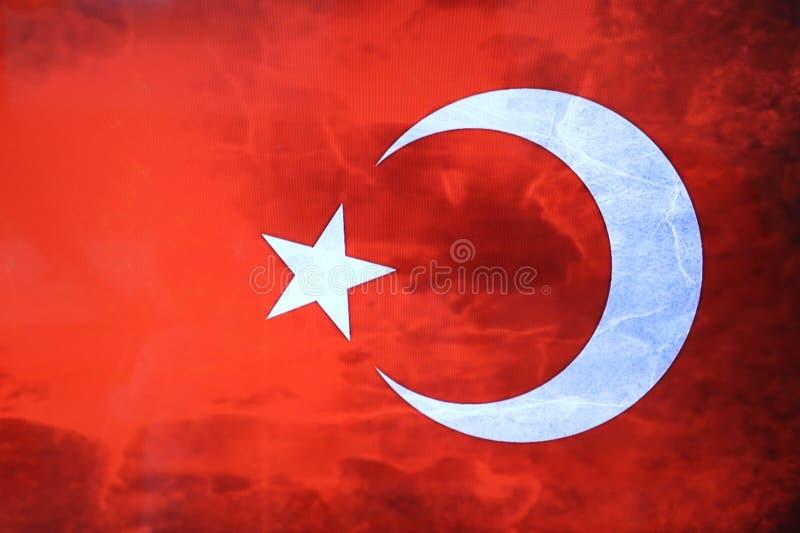 Türkische Flagge Türkische rote Fahne mit weißem Stern und Mond Staatsflagge von der Türkei lizenzfreies stockfoto