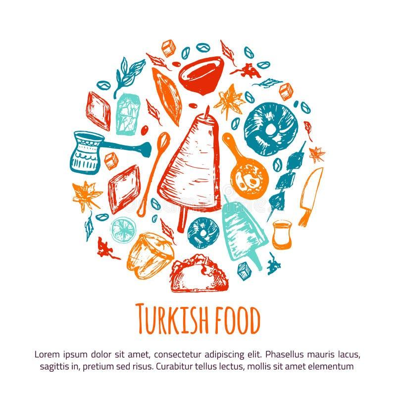 Türkische Gezeichnete Kreisfahne Des Lebensmittels Hand Mit ...