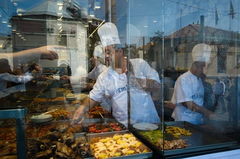 Türkische Küche im Nahrungsmittelbuffetcafé stockfotos