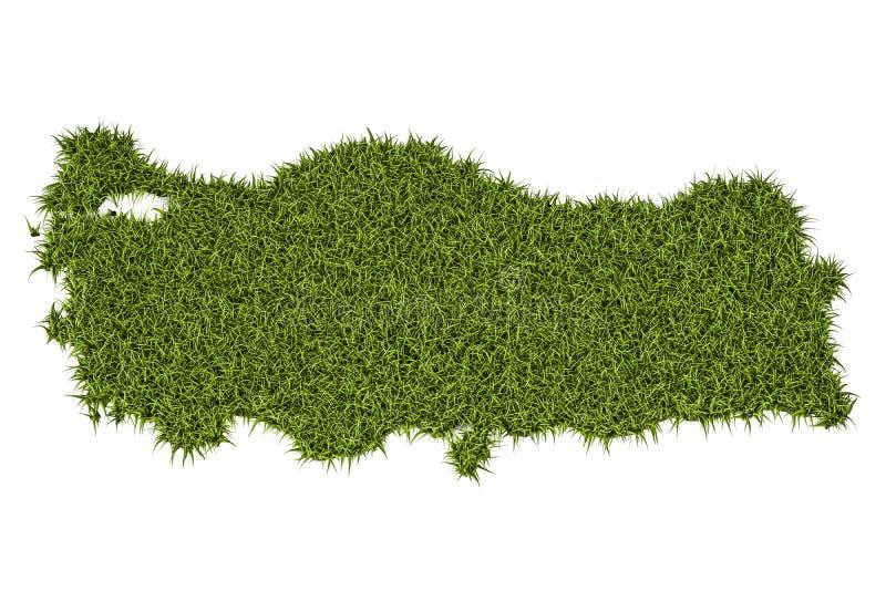 Türkische Karte vom grünen Gras, Wiedergabe 3D lizenzfreie abbildung