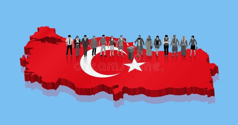 Türkische nationalistische moslemische Wähler und kurdischer Protestierender wählen für die Türkei-Wahl stock abbildung