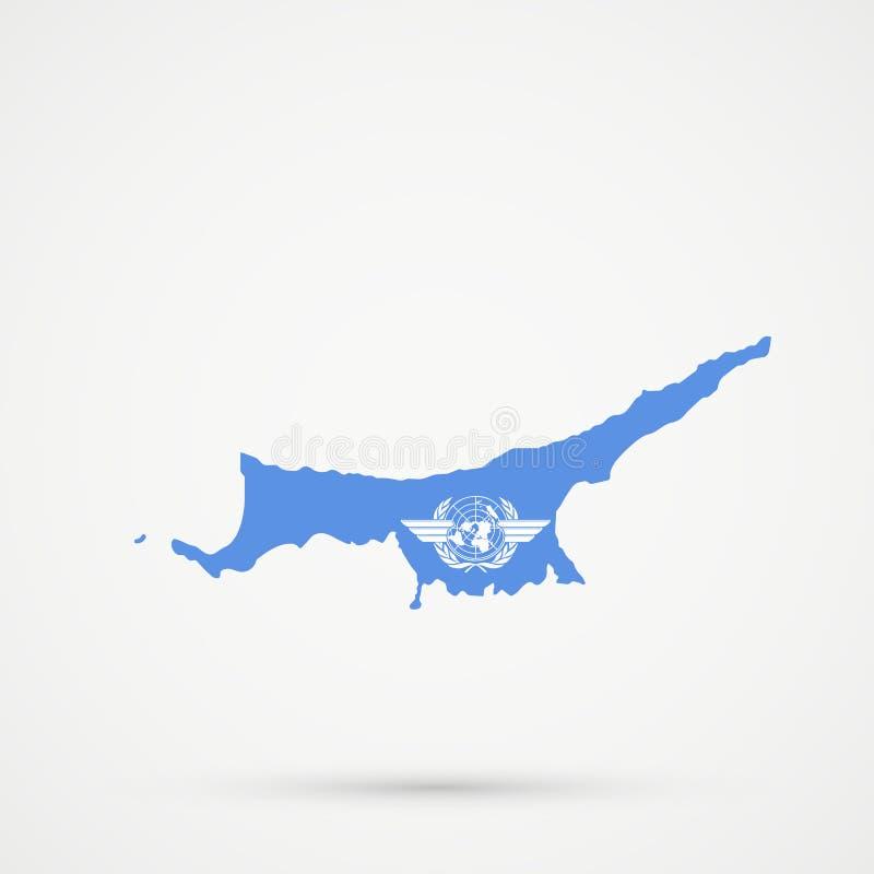 Türkische Republik Nord-Karte Zyperns TRNC in den Flaggenfarben der Internationale Zivilluftfahrt-Organisation ICAO, editable Vek stock abbildung
