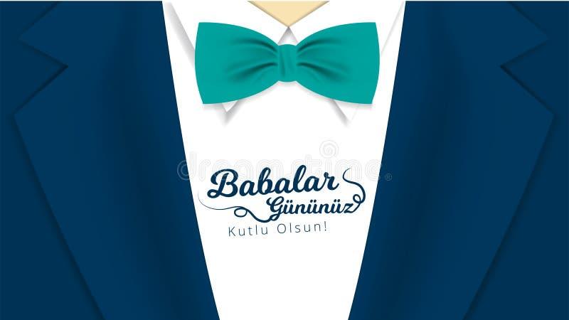 Türkischer Feiertag 'kutlu Babalar Gununuz olsun 'übersetzen: 'Der glückliche Vatertags-'Kalligraphiegrußkarte Auch im corel abge lizenzfreie abbildung
